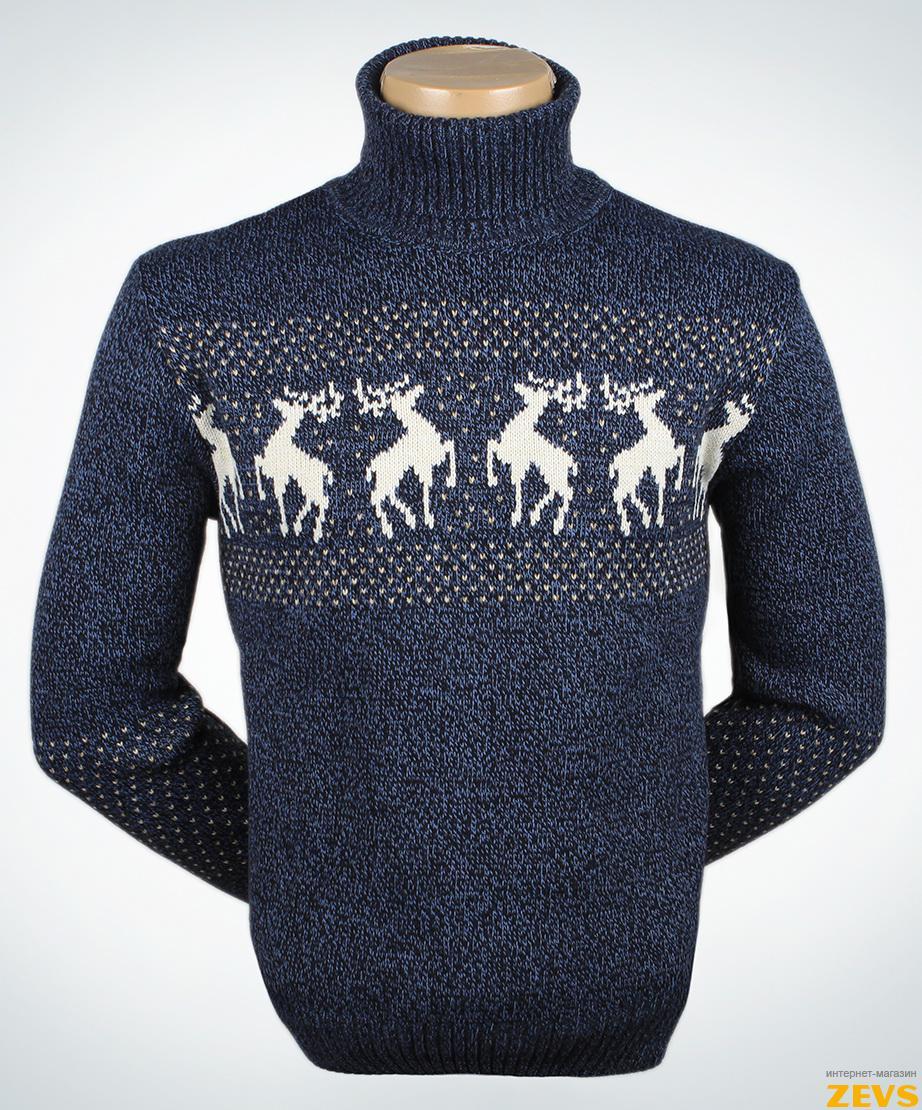Мужской пуловер с оленями