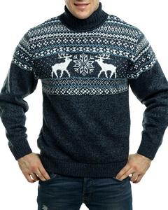 274a4971b1b1c товар распродан ЛИДЕР ПРОДАЖ Вязаный мужской свитер с оленями, голубой узор