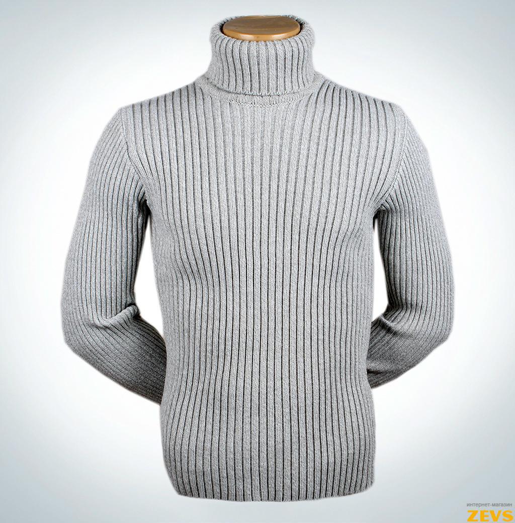 971f3d5f5d7 Серый шерстяной вязаный мужской свитер купить в интернет магазине