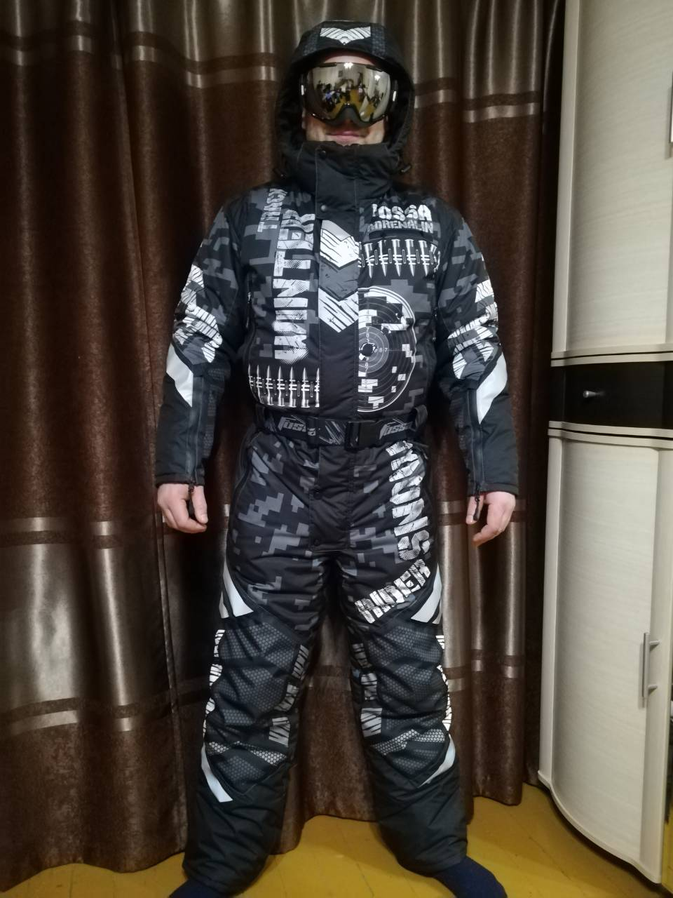 Теплый костюм большого размера со снежинками Самара